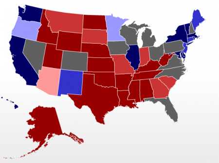 Electoral Map 2012 from RealClear Politics